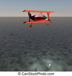 Biplane - Red biplane flying over water, 3d render