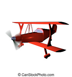 Biplane - Red biplane isolated over white, 3d render