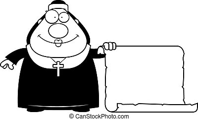 Cartoon Nun Sign - A cartoon illustration of a nun with a...