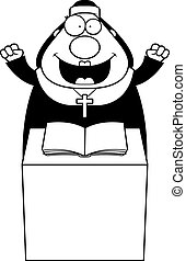 Cartoon Nun Sermon - A cartoon illustration of a nun giving...