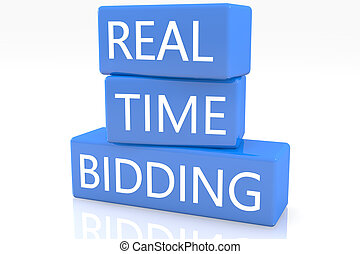 Real Time Bidding - 3d render blue box with text Real Time...