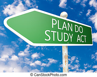 Plan Do Study Act - street sign illustration in front of...
