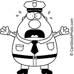 Scared Police - A cartoon illustration of an police officer...