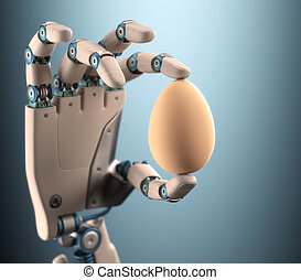 Hand Egg - Robot hand holding a chicken egg. Clipping path...