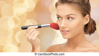 beautiful smiling woman with make up brush - beuty, people...