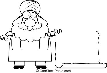 Cartoon Sikh Sign - A cartoon illustration of a Sikh with a...