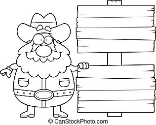 Prospector Sign - A happy cartoon prospector with a sign