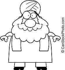 Smiling Cartoon Sikh - A cartoon illustration of a Sikh...