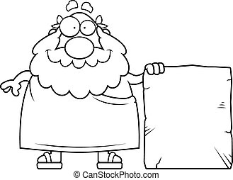Greek Philosopher Tablet - A happy cartoon Greek philosopher...