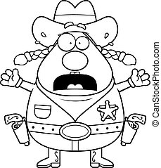 Scared Sheriff - A cartoon sheriff with a scared expression