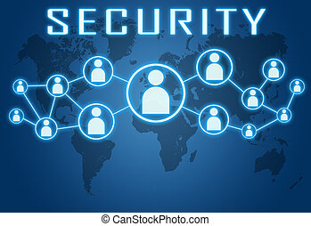Security concept on blue background with world map and...