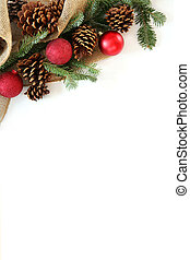 Christmas Bulb, Pinecone and Evergreen Border Isolated on...