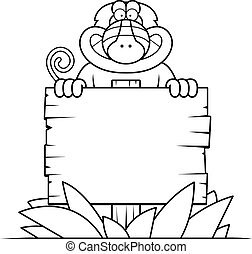 Cartoon Baboon Sign - A cartoon illustration of a baboon...