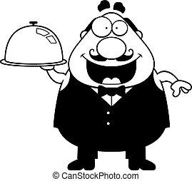 Cartoon Waiter Tray - A cartoon illustration of a waiter...