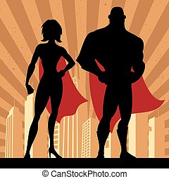 Superhero Couple 4 - Square banner of male and female...