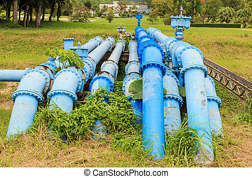 Big blue color main water supply