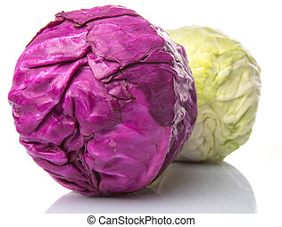 Red And Green Cabbage - Whole red and green cabbage over...