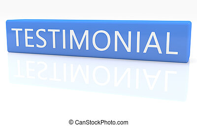Testimonial - 3d render blue box with text Testimonial on it...