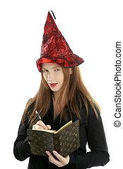 beautiful witch secretary portrait writing notebook