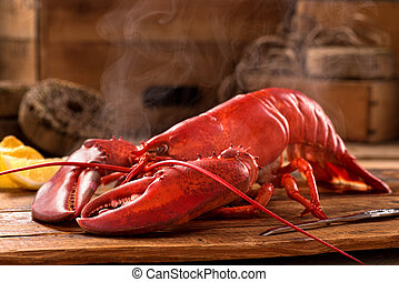 Steamed Lobster - A delicious freshly steamed lobster in the...