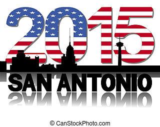 San Antonio skyline 2015 flag text illustration