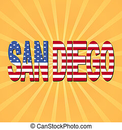 San Diego flag text with sunburst illustration