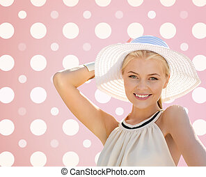 beautiful smiling woman in white summer hat - fashion,...