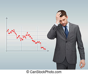 businessman over forex graph going down - business,...