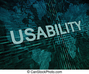 Usability text concept on green digital world map background...