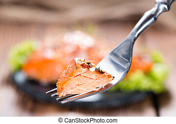 Smoked Salmon with spices - Pice of Smoked Salmon marinated...