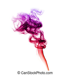 Red and purple smoke - Abstract bright colored smoke on a...