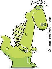 Sleeping Cartoon Spinosaurus - A cartoon illustration of a...