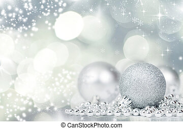 Silver Christmas background with decorations - Sparkling...