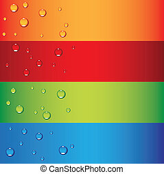 dew drops - a set of colorful banners with dew drops