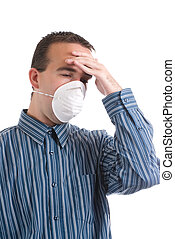 Cold and Flu - A young man with a respiratory infection is...