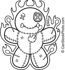 Cartoon Voodoo Doll Flames - A cartoon illustration of a...