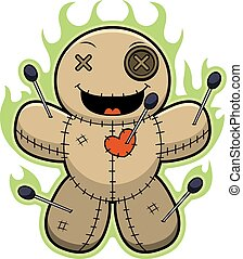 Cartoon Voodoo Doll Magic - A cartoon illustration of a...