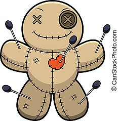 Happy Cartoon Voodoo Doll - A cartoon illustration of a...