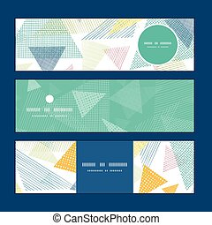 Vector abstract fabric triangles horizontal banners set...