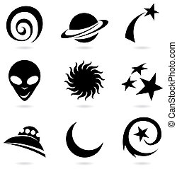 space icons silhouettes - colourful fun space icons...
