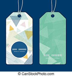 Vector abstract fabric triangles vertical round frame pattern tags set