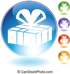 gift box crystal isolated on a white background image.