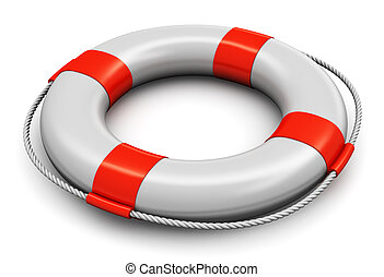 Lifesaver belt - Red and white lifesaver belt isolated on...