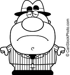 Sad Cartoon Mobster - A cartoon illustration of a mobster...