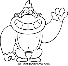 Cartoon Gorilla Waving - A cartoon illustration of a gorilla...