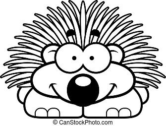 Smiling Little Porcupine - A cartoon illustration of a...