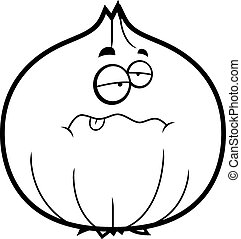 Cartoon Sick Onion - A cartoon illustration of an onion...