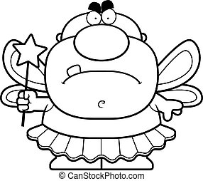 Cartoon Angry Tooth Fairy - A cartoon illustration of a...