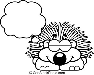 Dreaming Little Porcupine - A cartoon illustration of a...