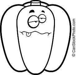 Cartoon Sick Bell Pepper - A cartoon illustration of a green...
